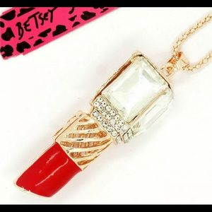 Betsey Johnson gold chain lipstick 💄 necklace